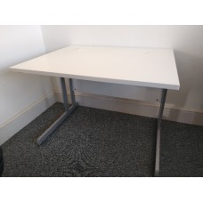 White Desk with Cantilever Legs