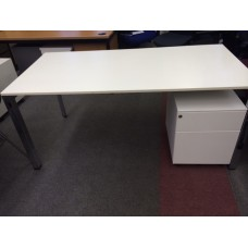 Haworth White Desk with Settable Leg Height